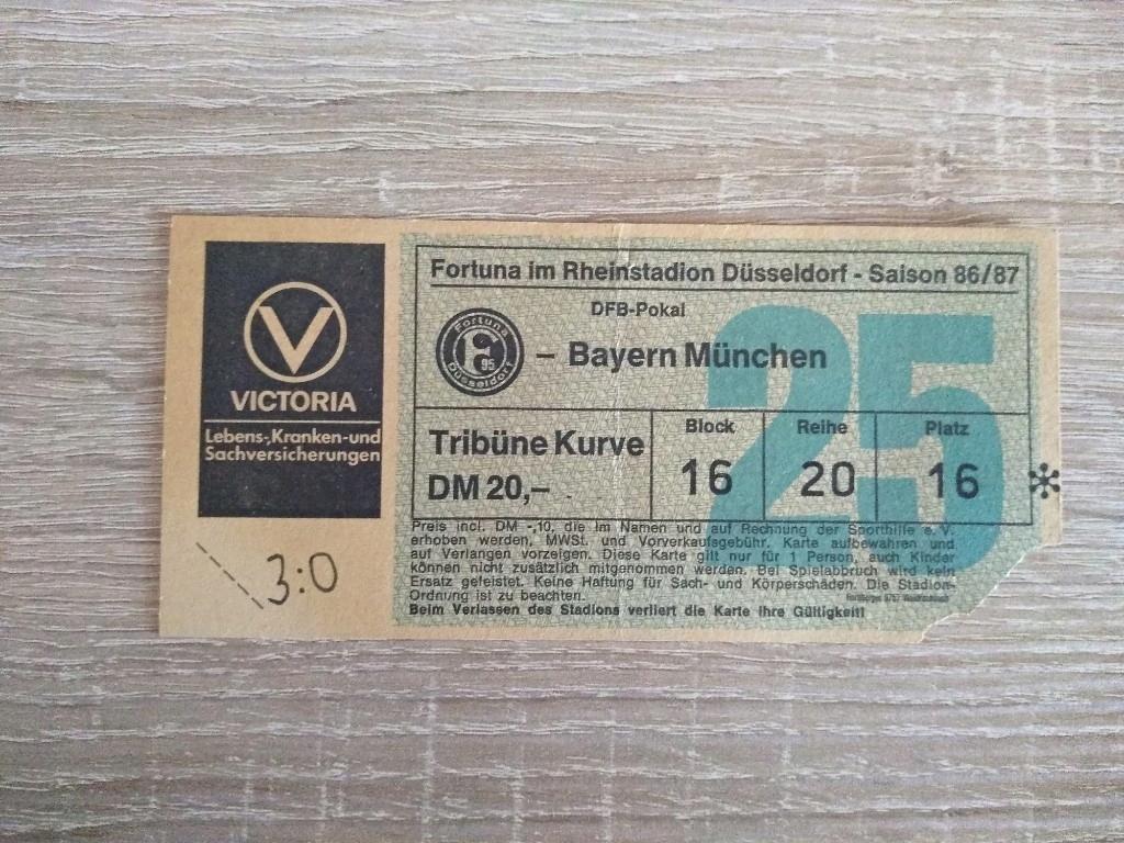 Bilet Fortuna Dusseldorf - Bayern Munchen 1986