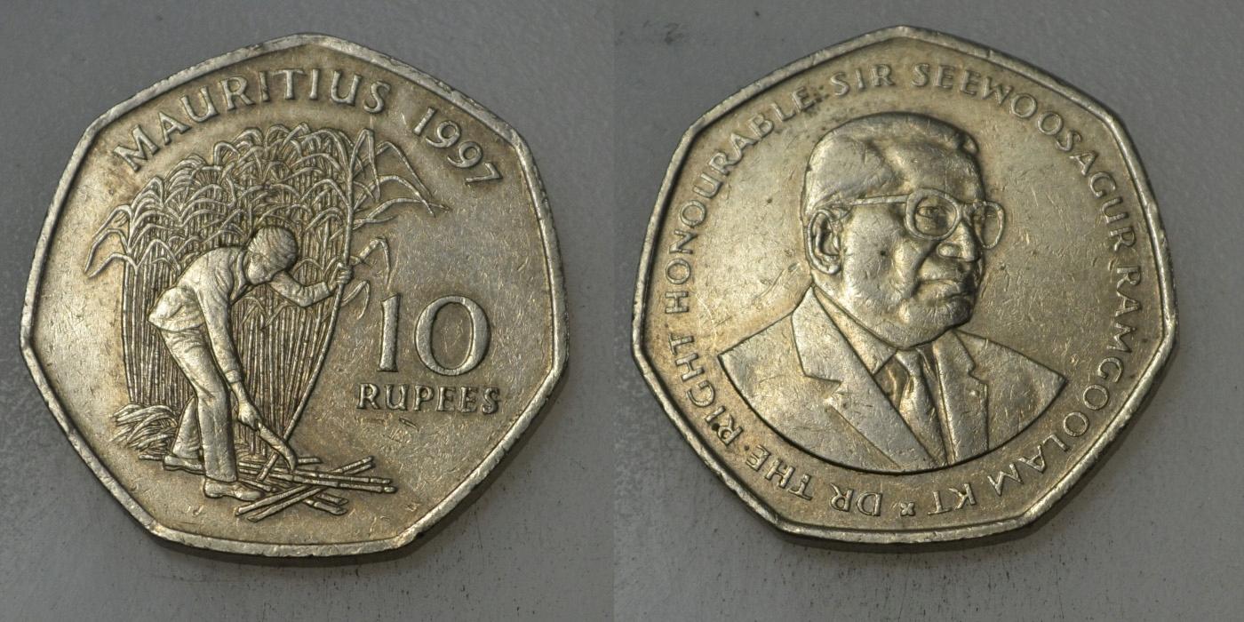 Mauritius 10 Rupia 1997 rok BCM