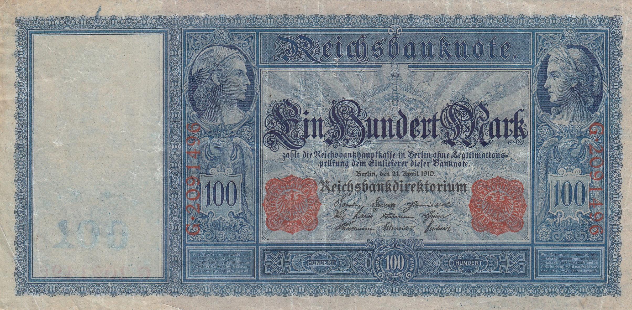 Niemcy DR 100 mk. 1910 Ros.43 b.stan ii