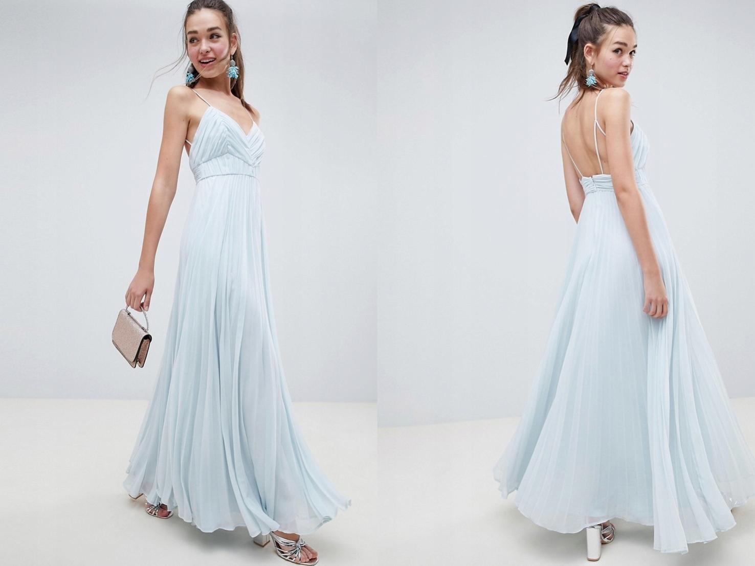 Sukienka Maxi Plisowana na ramiączkach M/38