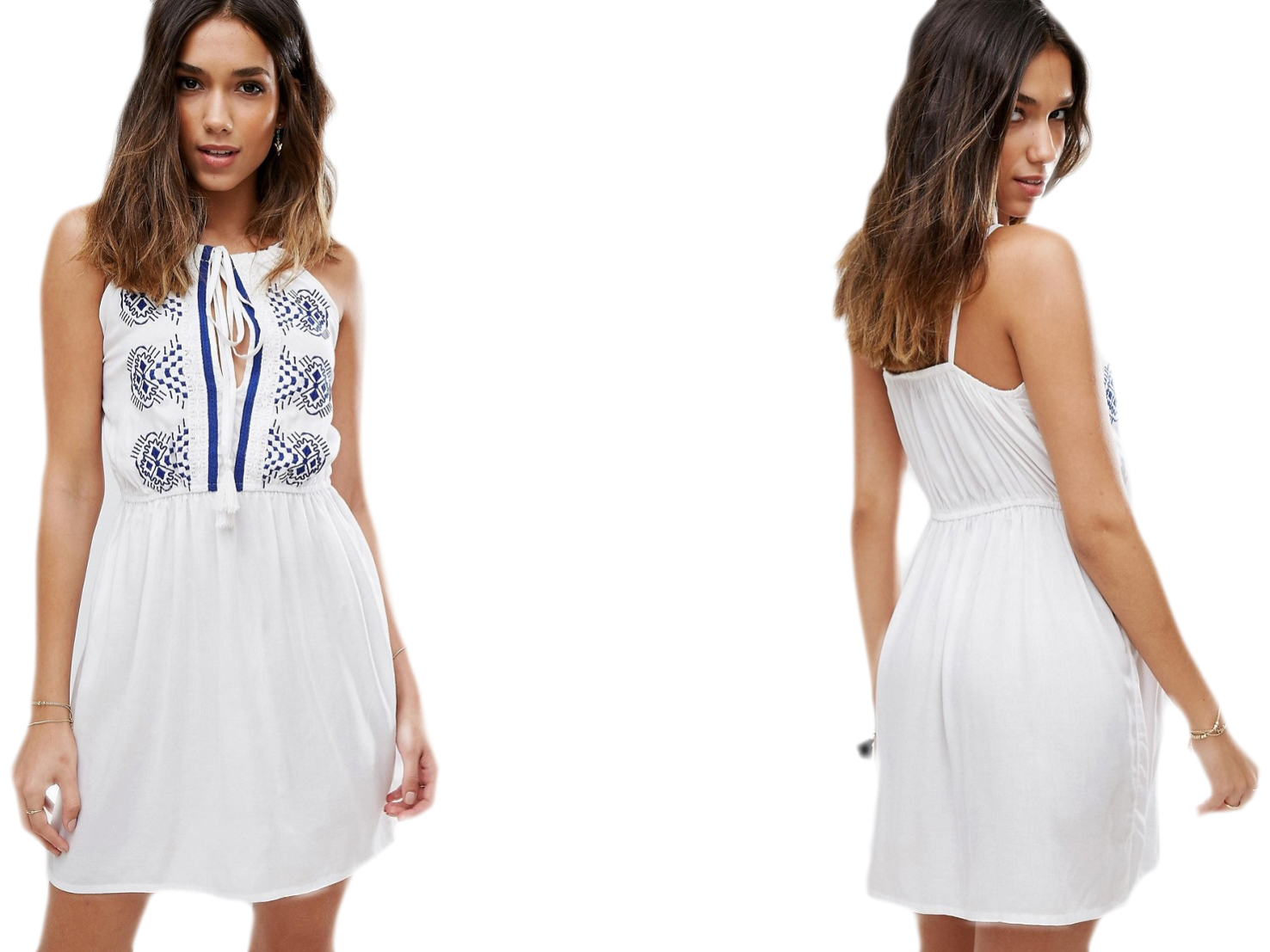 Boohoo biała wyszywana sukienka mini 36