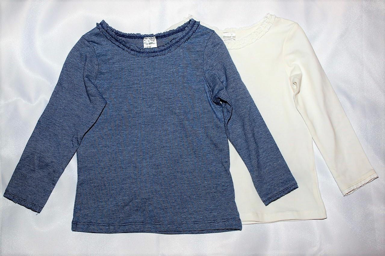 Bluzka H&M 2-pak biała + niebieska falbanka 86