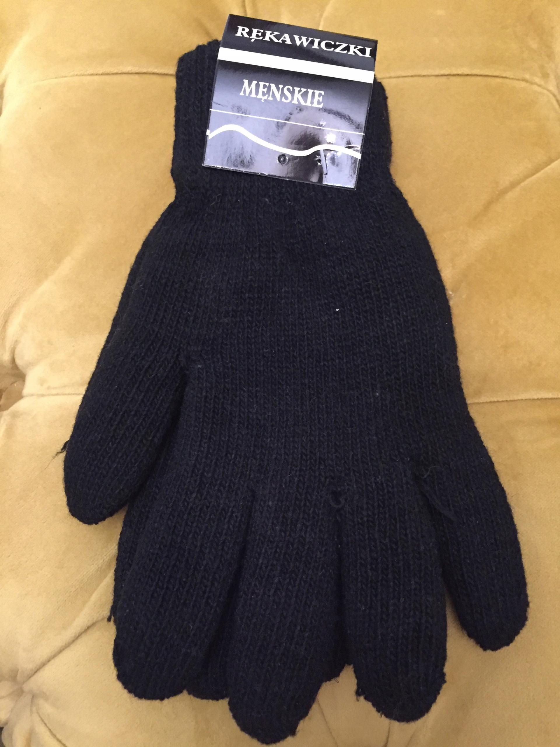 Rękawiczki męskie czarne one size ciepłe wełna