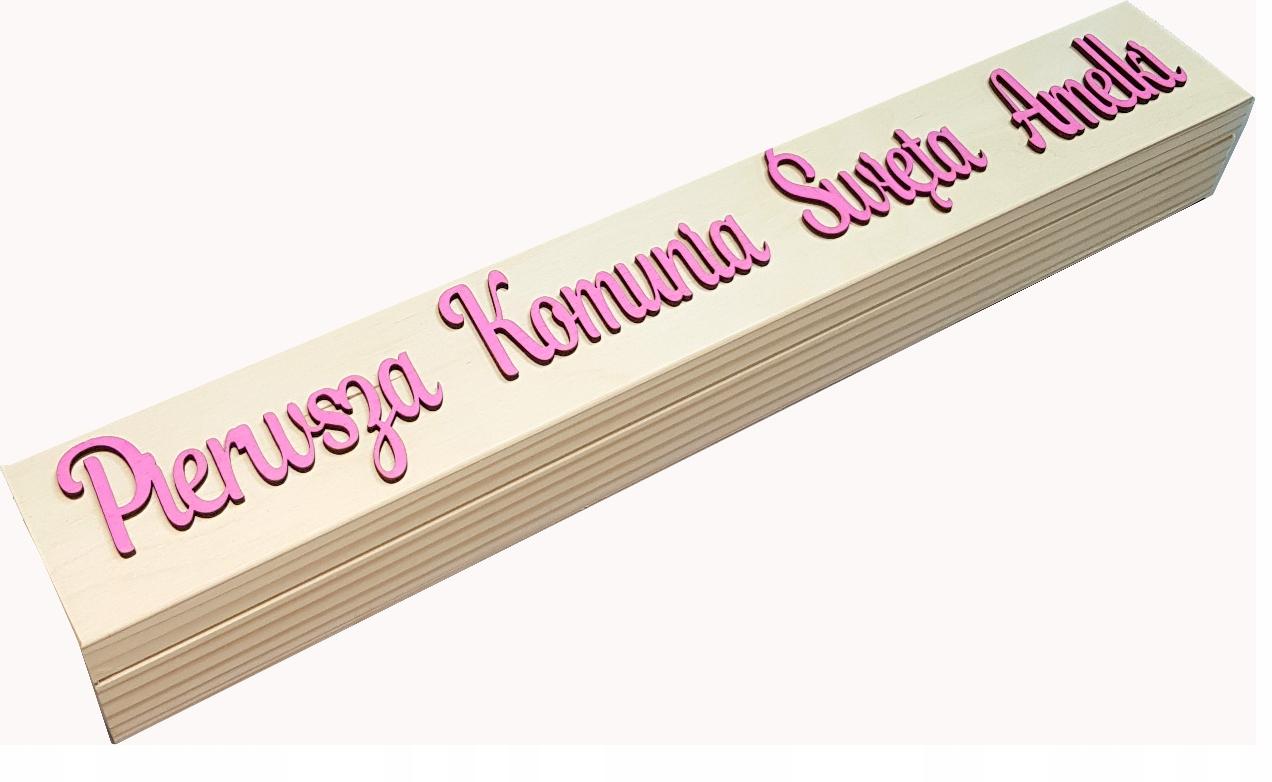 Drewniane pudełko na święcę KOMUNIA ŚWIĘTA