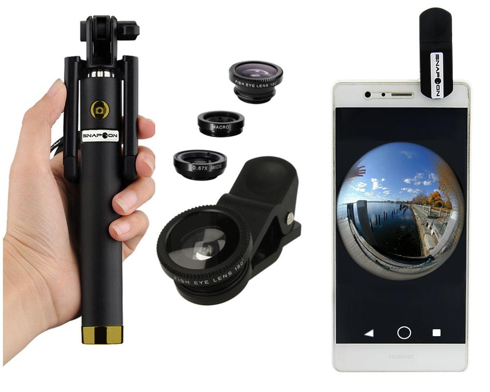 Kij Selfie Bluetooth Obiektywy 3x Macro Fish Eye
