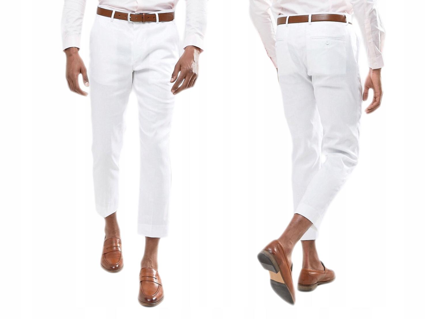 Białe Eleganckie Spodnie Skinny W36.L32