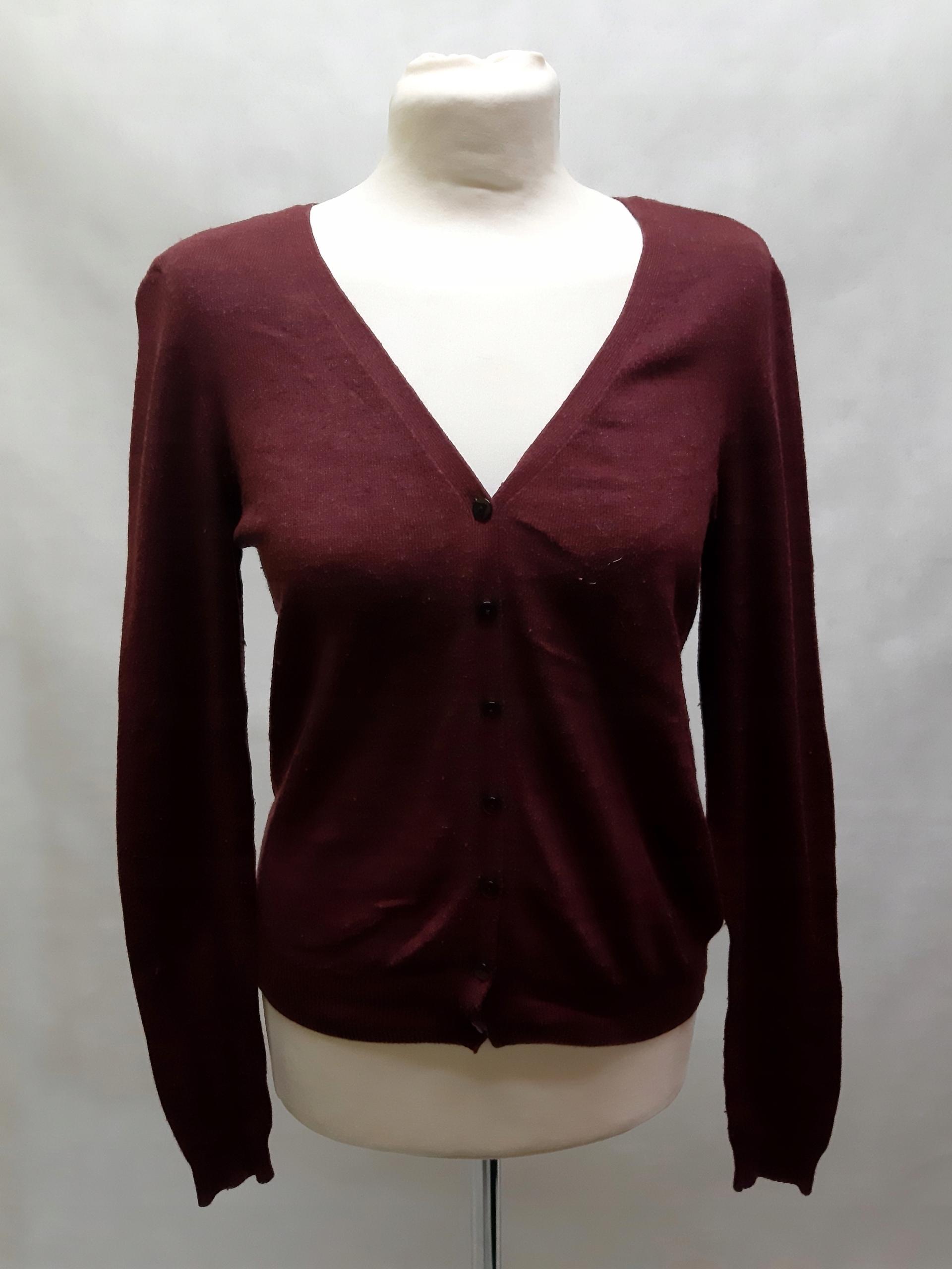 Bordowy sweter z łatami H&M M S1