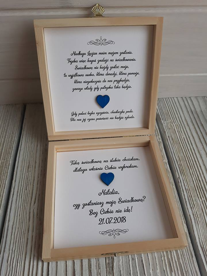 Świeże Zaproszenia ślub prośba świadków pudełko drewniane - 7248464770 SH83