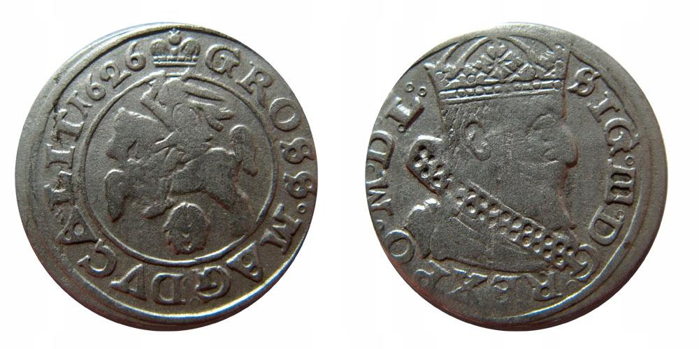 Zygmunt III Waza, grosz 1626, Wilno, piękny egzemp