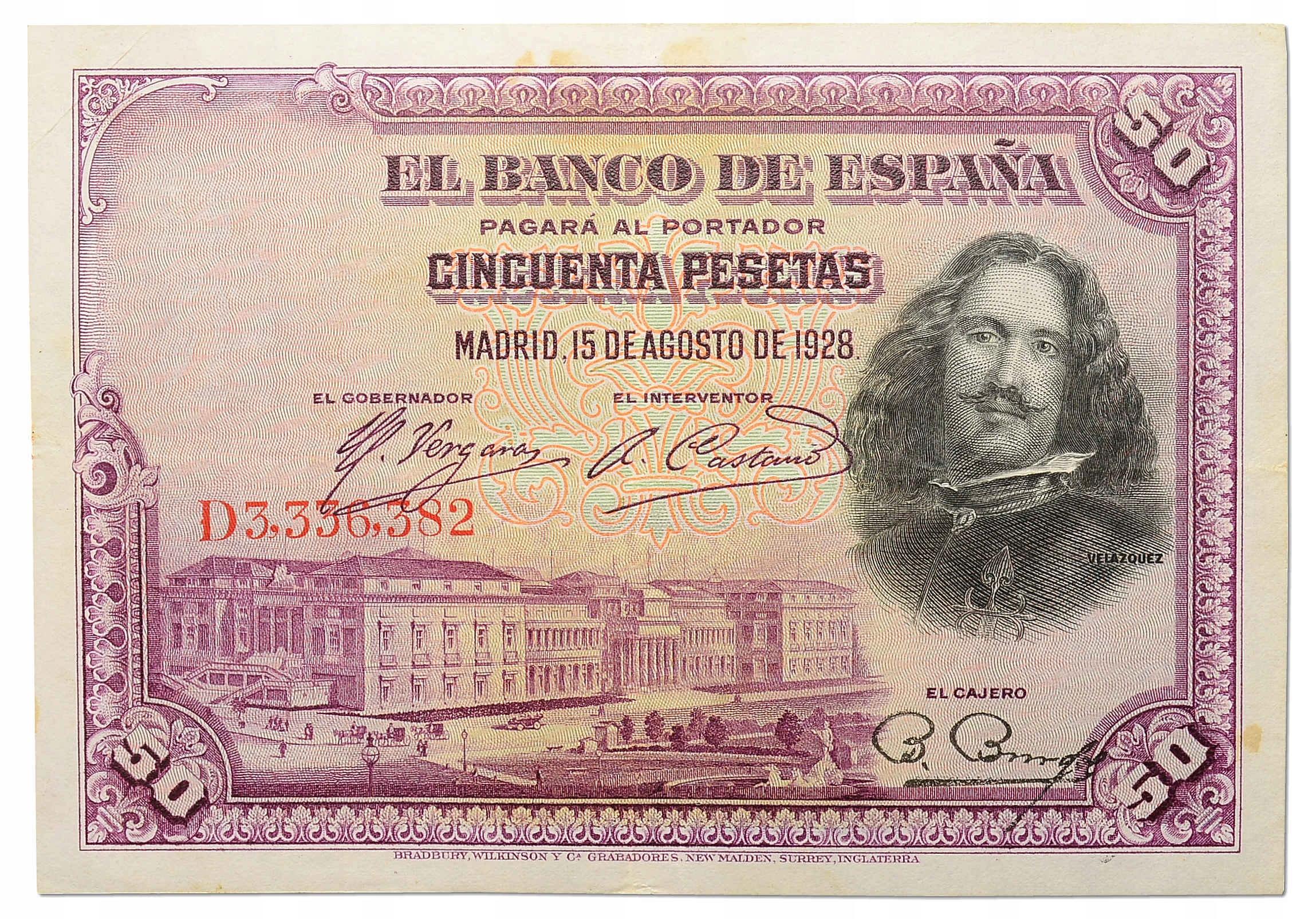8.Hiszpania, 50 Peset 1928, P.75.b, St.3+