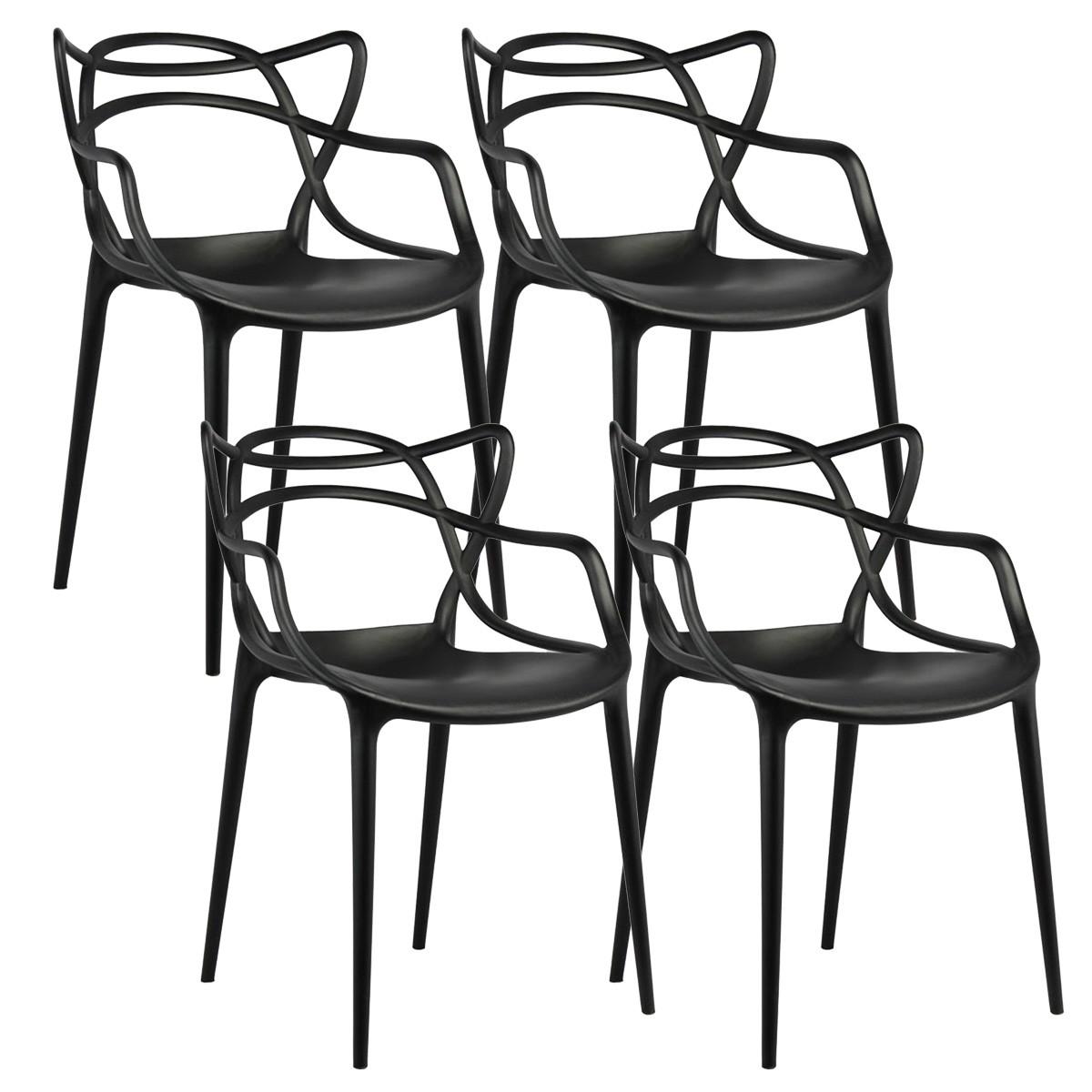 Krzesła Master Czarne 4 Sztuki Plastikowe Ogrodowe