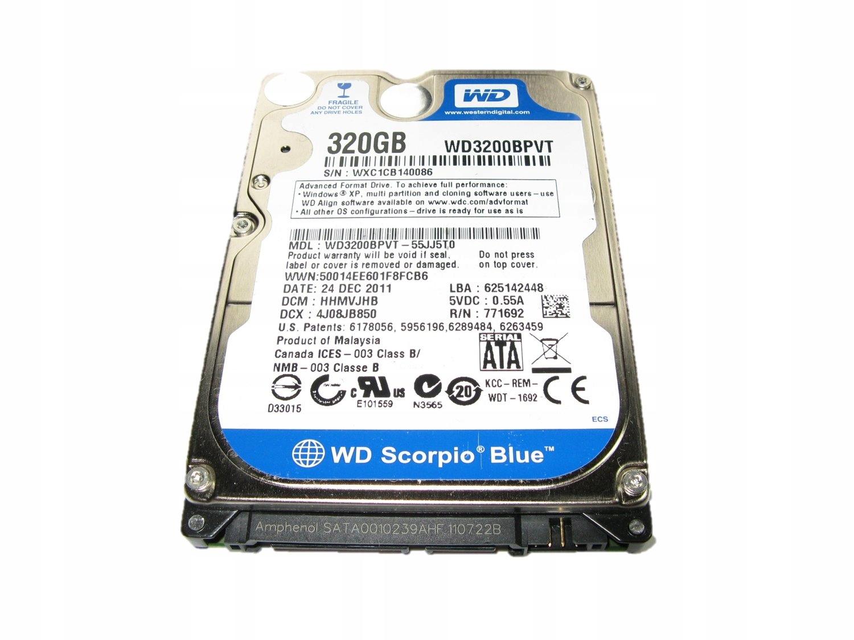 Dysk WD 3200BPVT 2,5 SATA 320 GB 24H jak nowy