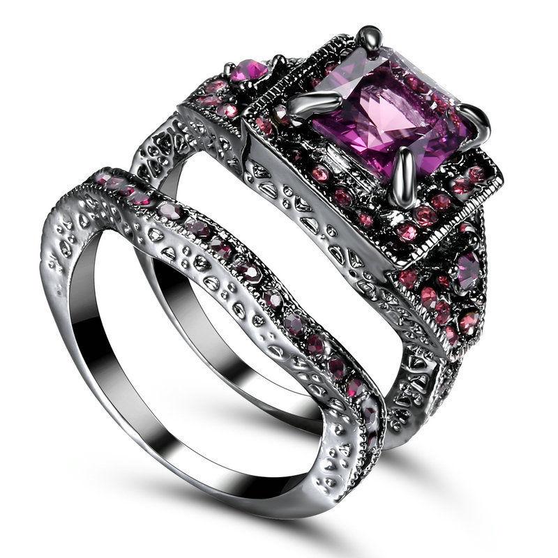 pierścionek 2w1 czarne złoto fioletowy 10KGF r.14