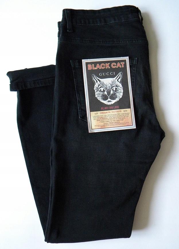 GUCCI BLACK CAT czarne PAS - 88cm