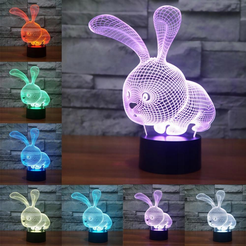 LAMPKA KRÓLICZEK 3D LSMY LED 7 KOLORÓW USB