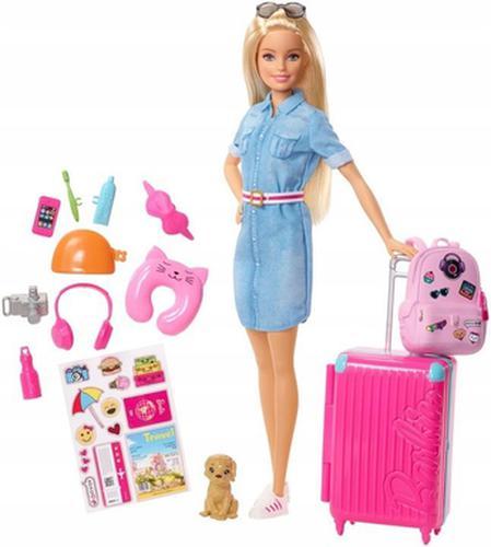 Lalka Barbie w podróży + akcesoria. Mattel.