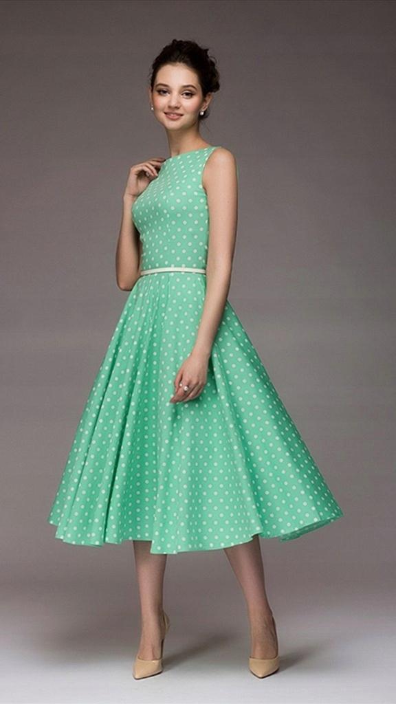 4daa8ab9be Rozkloszowana cienka sukienka w grochy zielona L - 7446670945 ...