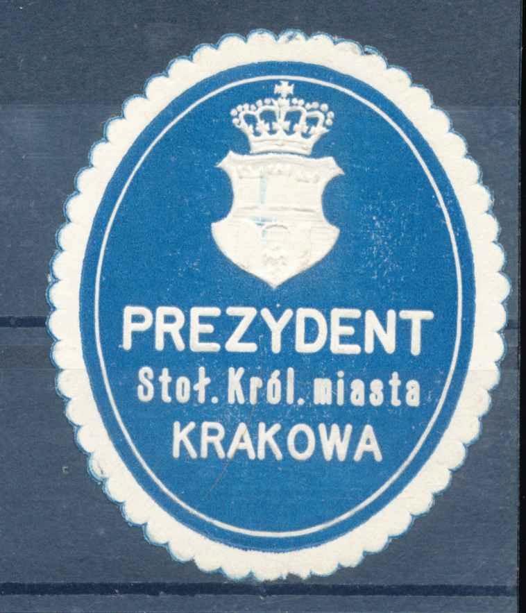 1910 MAŁOPOLSKA, KRAKÓW, zalepka urzędowa.