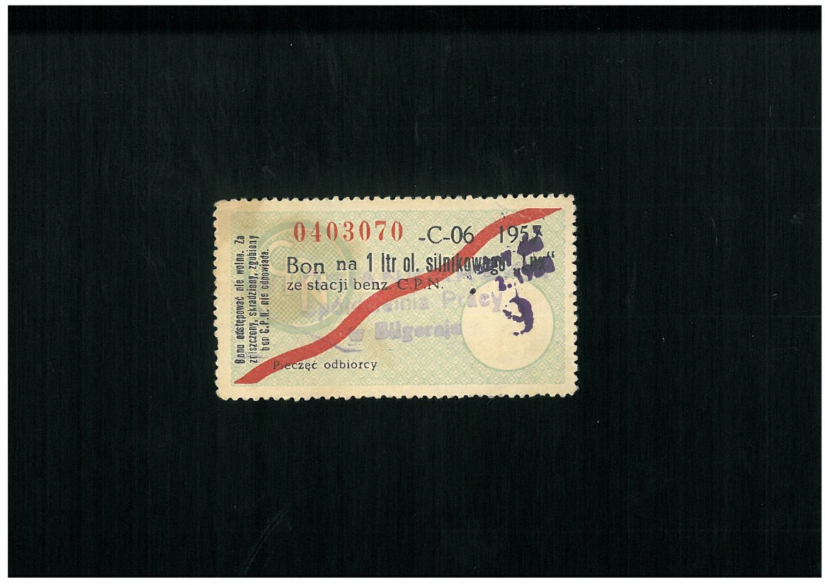 Bon na olej silnikowy - 1 l - 1957 r. - RRR