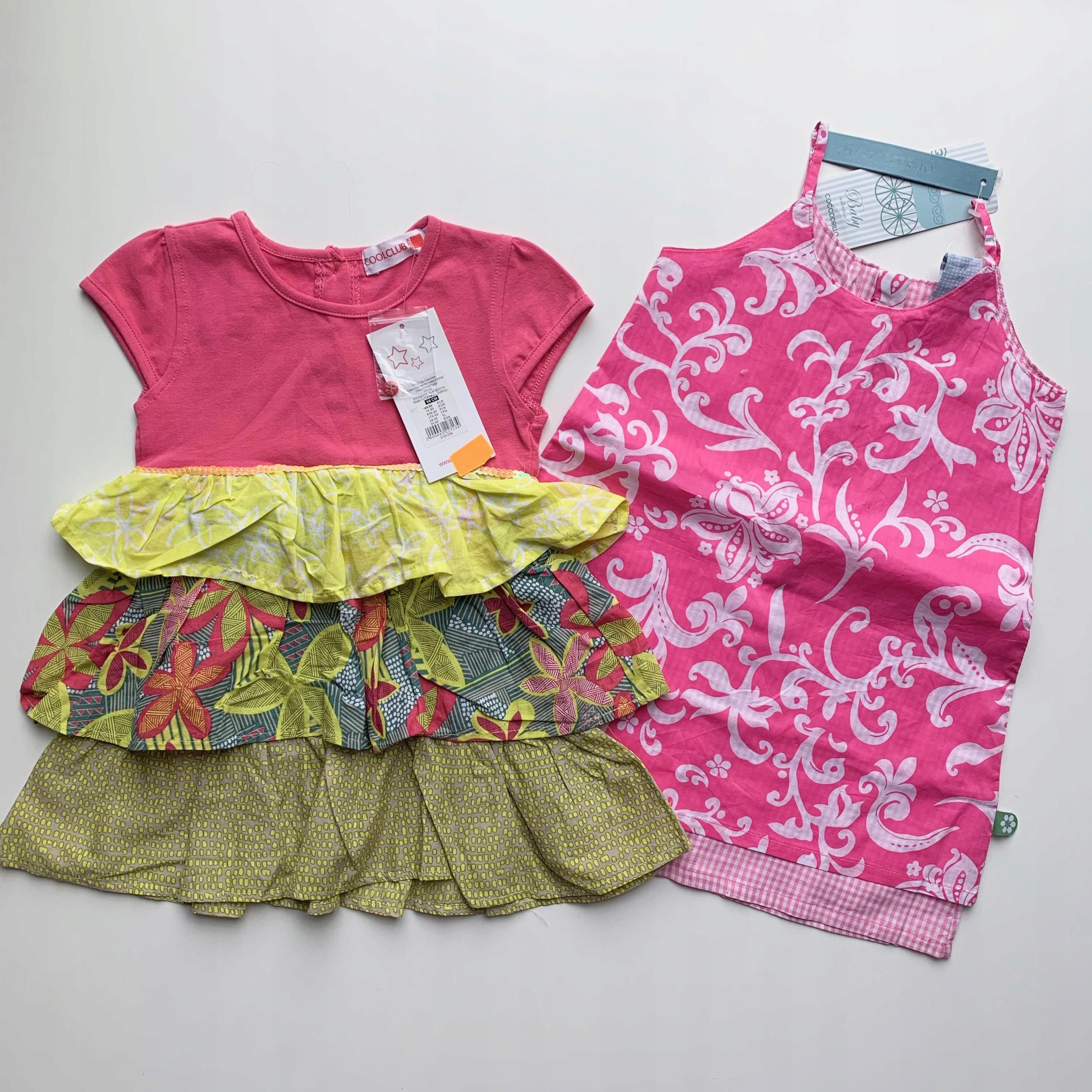 Sukienki letnie CoolClub i Coccodrillo 2-3l 92-98