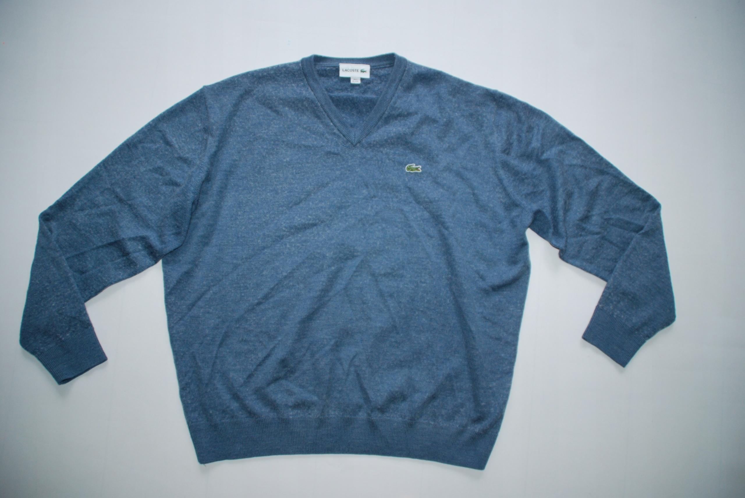 LACOSTE 7 XXL wełniany sweter stretch BDB