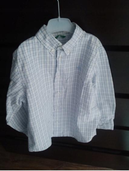 koszula Benetton 110 kratkę chłopca biała niebiesk