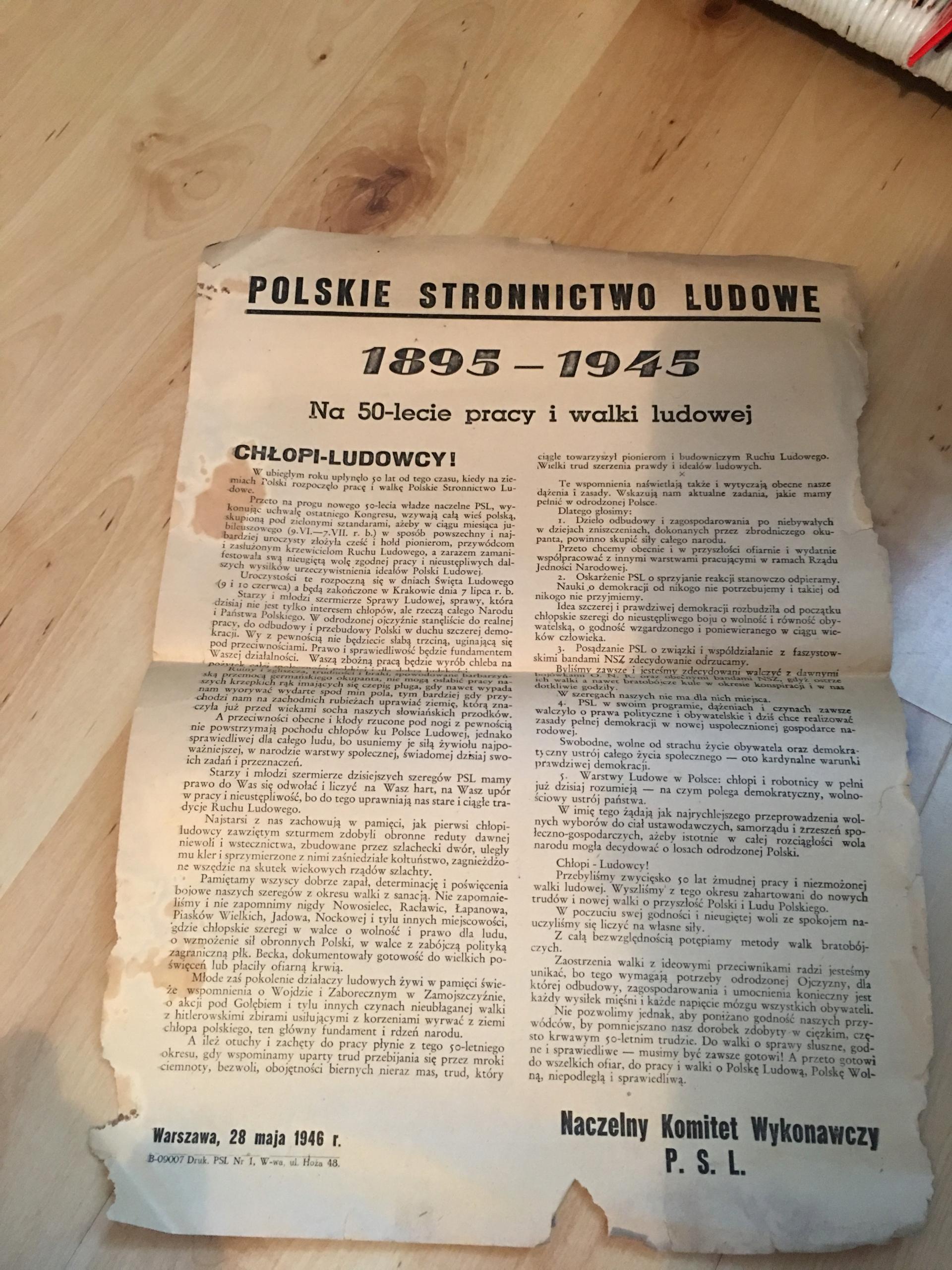 PSL 1946 AFISZ PLAKAT NA 50 LECIE PRACY I WALKI