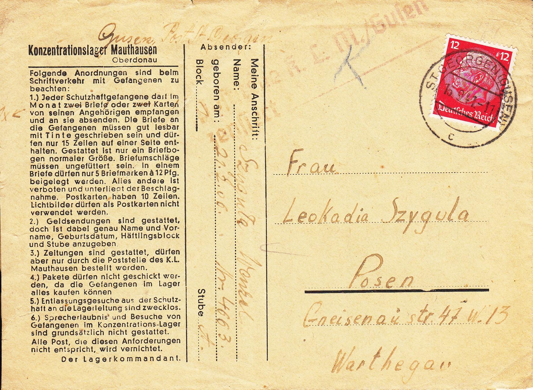 K.L. Mauthausen Gusen - Poznań 1941r (koperta)
