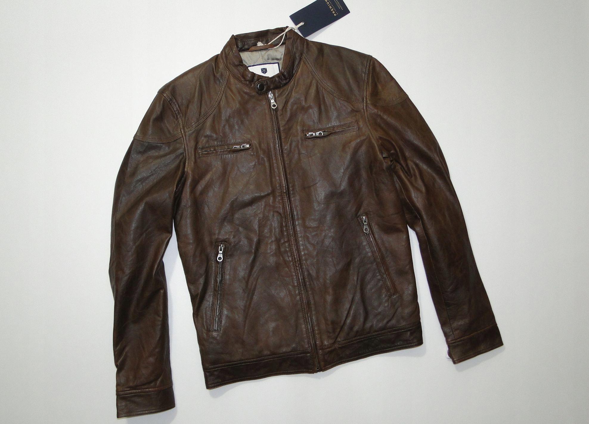 Kurtka JACK JONES Premium PRESTON Leather Brown S