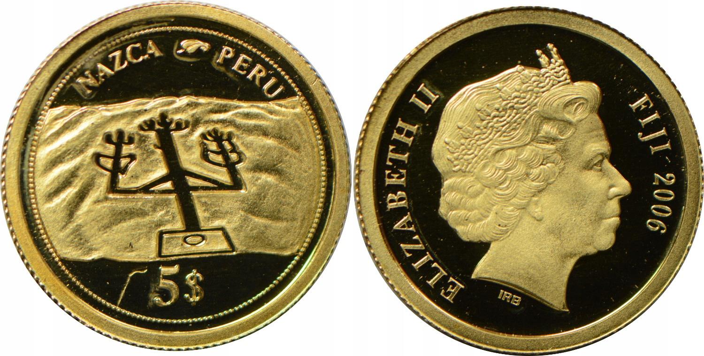 HT4. FIJI 5 DOLARÓW 2006 PERU ZŁOTO.585 GCN 17.01