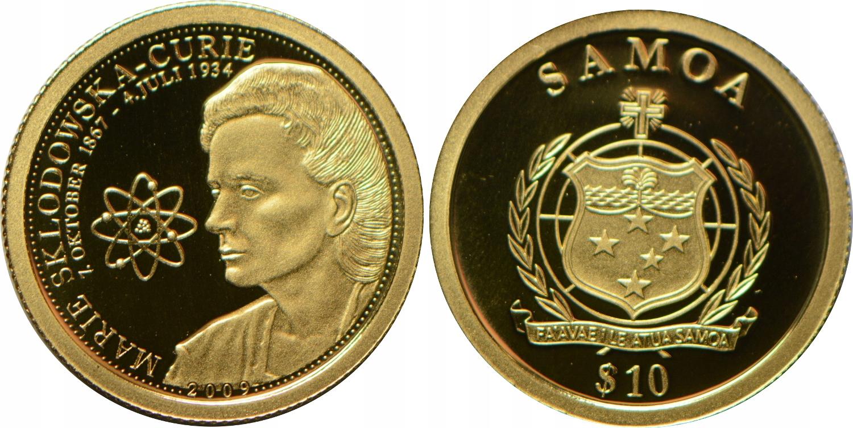 HT12. SAMOA 10 $ 2009 M.CURIE ZŁOTO.900 GCN 17.01