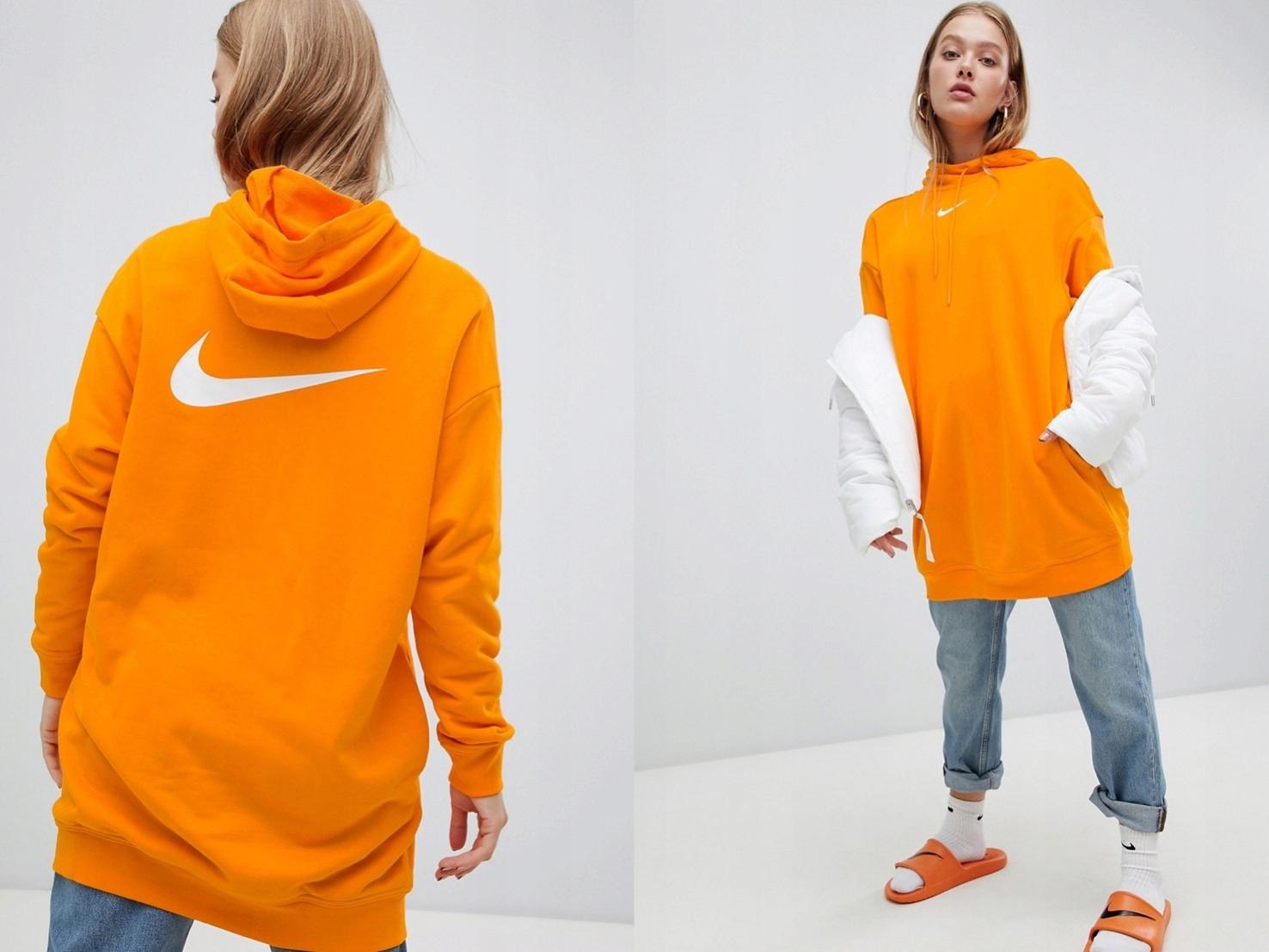 Nike - długa bluza z kapturem oversize L