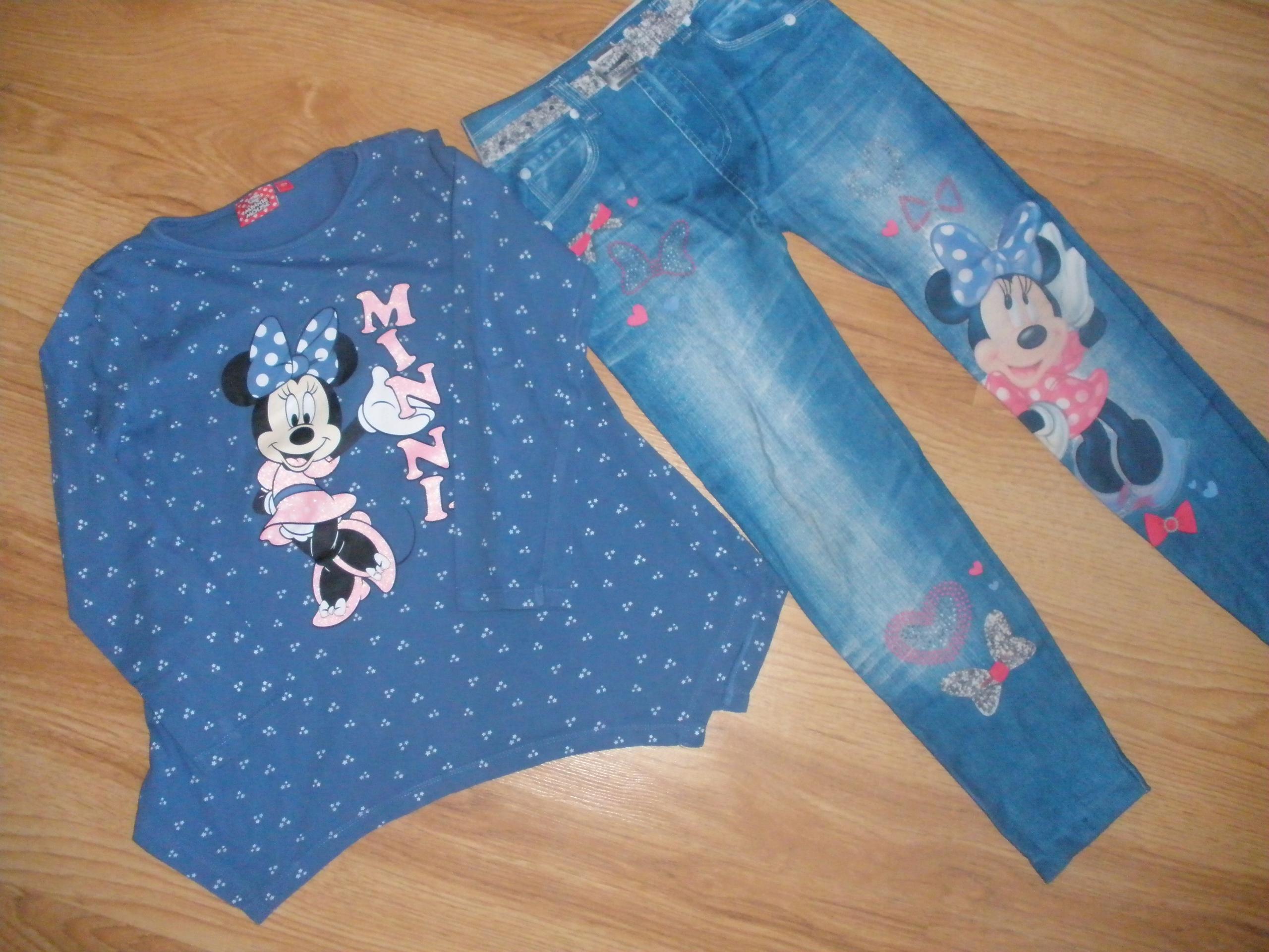 DISNEY, Minnie Mouse bluzka + legginsy r. 128