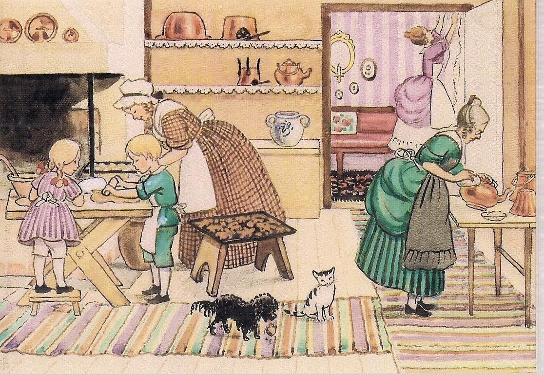 Dzieci Pies I Kot W Kuchni Beskow Nowa Zelandia