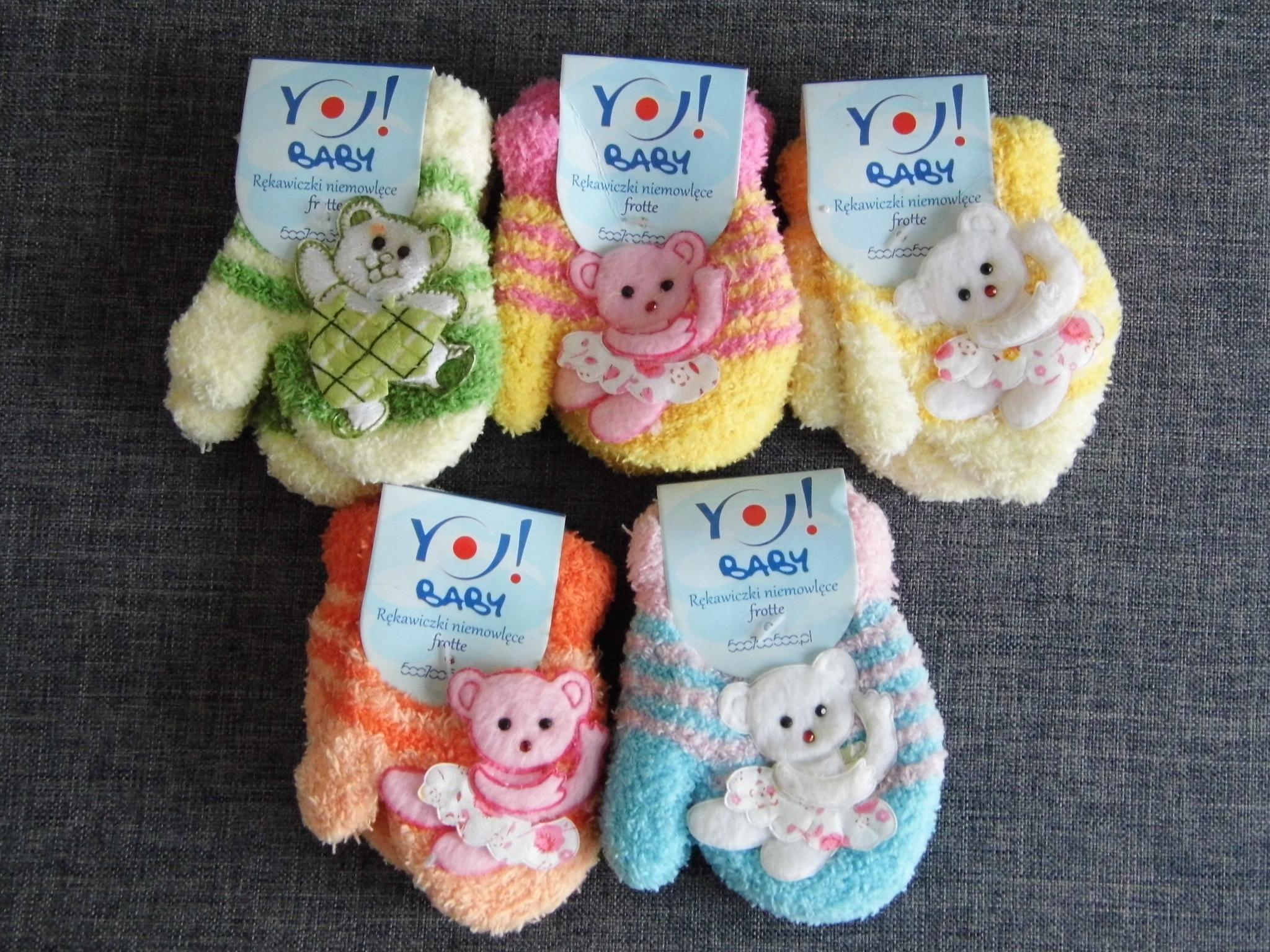 Yo! 5 par rękawiczki frotte nieużywane niemowlęce