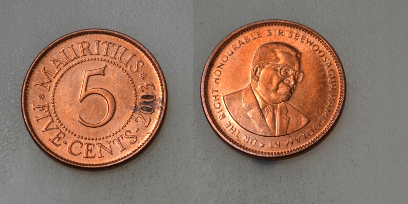 Mauritius 5 Cents 2003 rok BCM