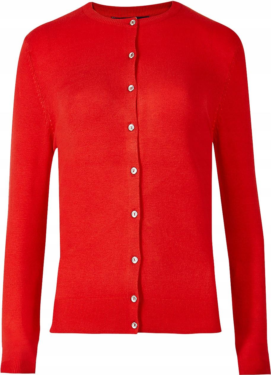 M&S Czerwony Sweter Kardigan XL 42