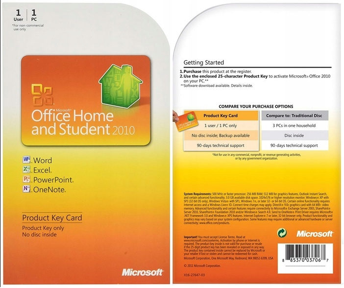 Microsoft Office Home and Student 2010 - key card