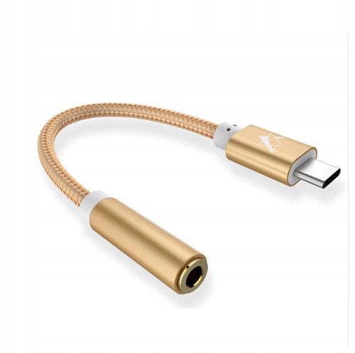 AUX mini jack - USB-C adapter złoty bez zakłóceń