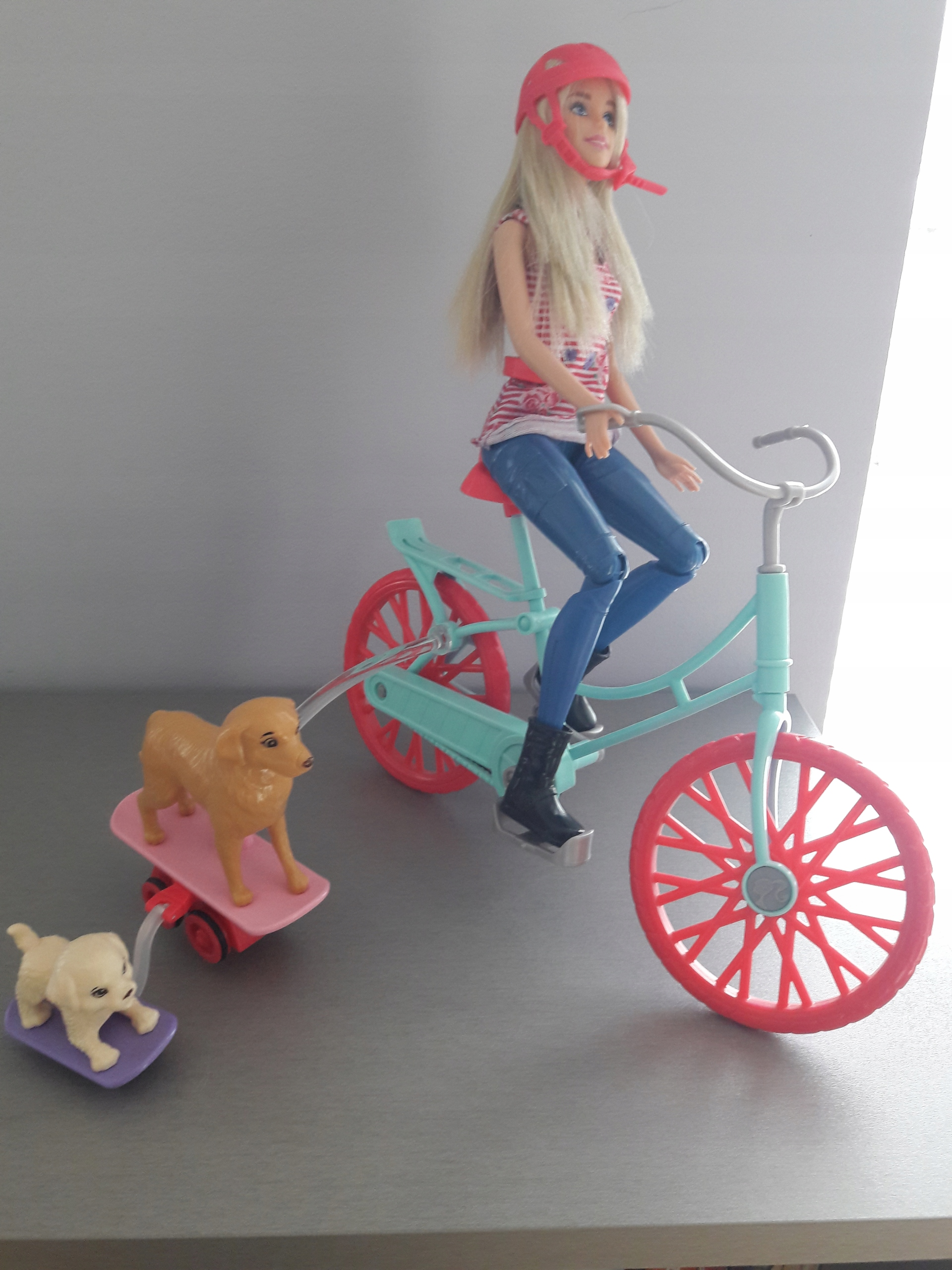 Barbie oryginał na rowerze z pieskami