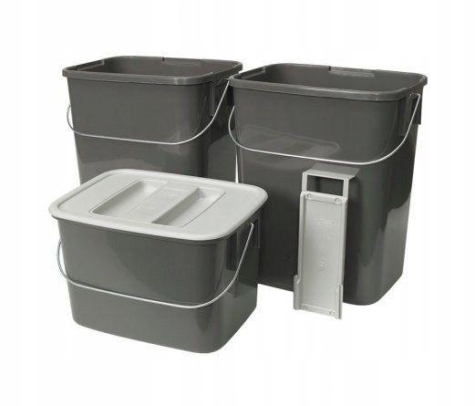 Pojemniki na odpady segregacja śmieci 2x12l 1x 7l
