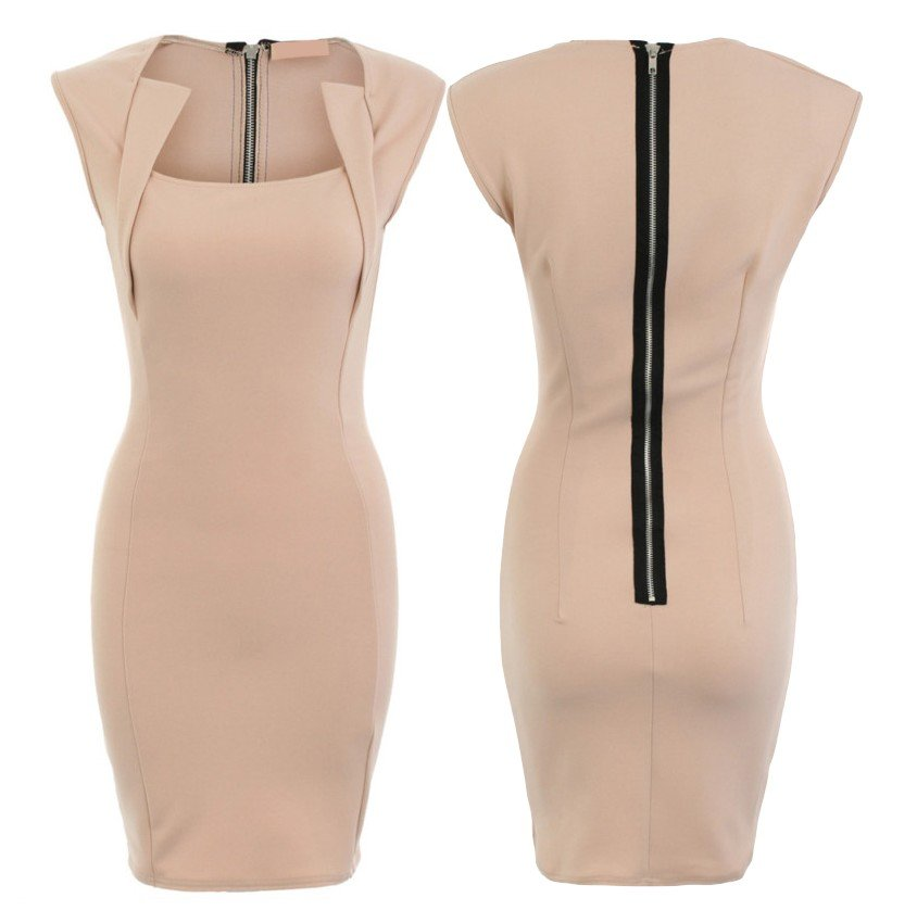 Klasyczna ołówkowa sukienka koktajlowa beż 40 L