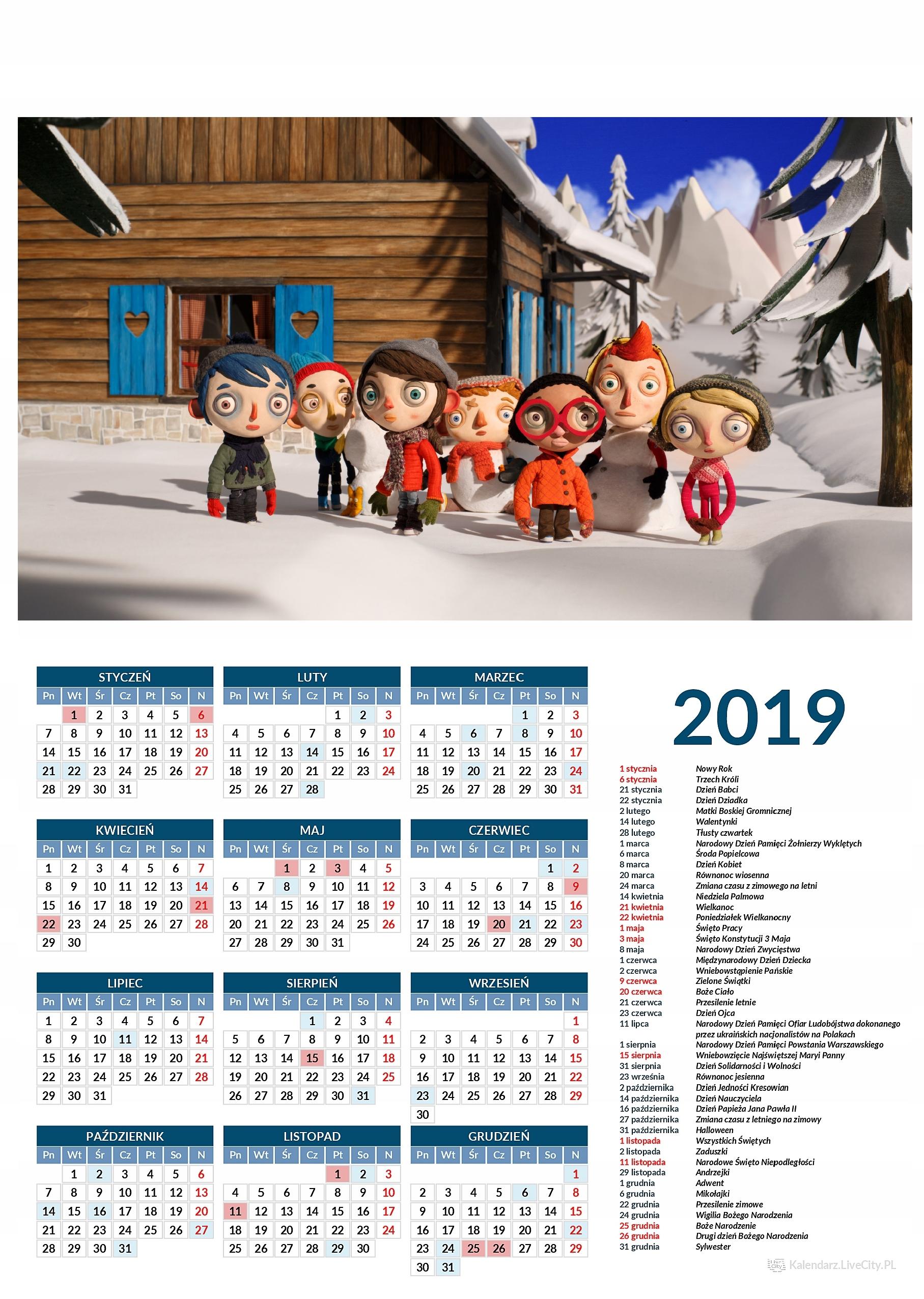 Kalendarz 2019 film nazywam się cukinia