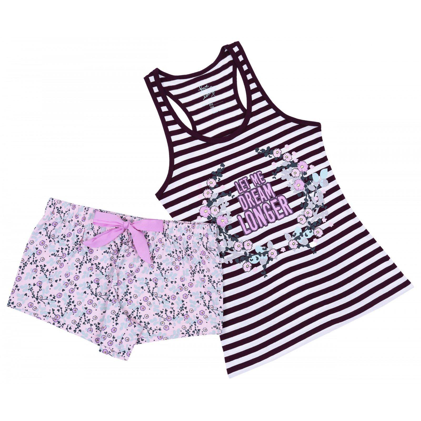 Burgundowa piżama w kwiatki PRIMARK 42-44