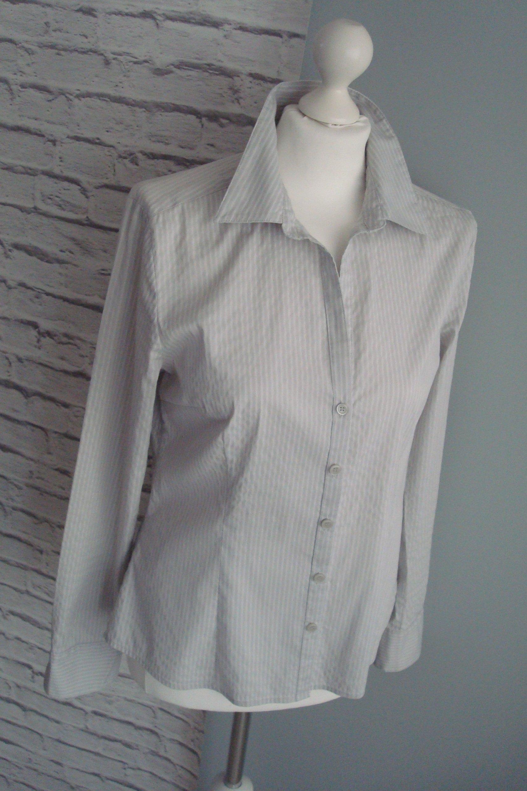 H&M bluzka casual koszula szara biała paski 40