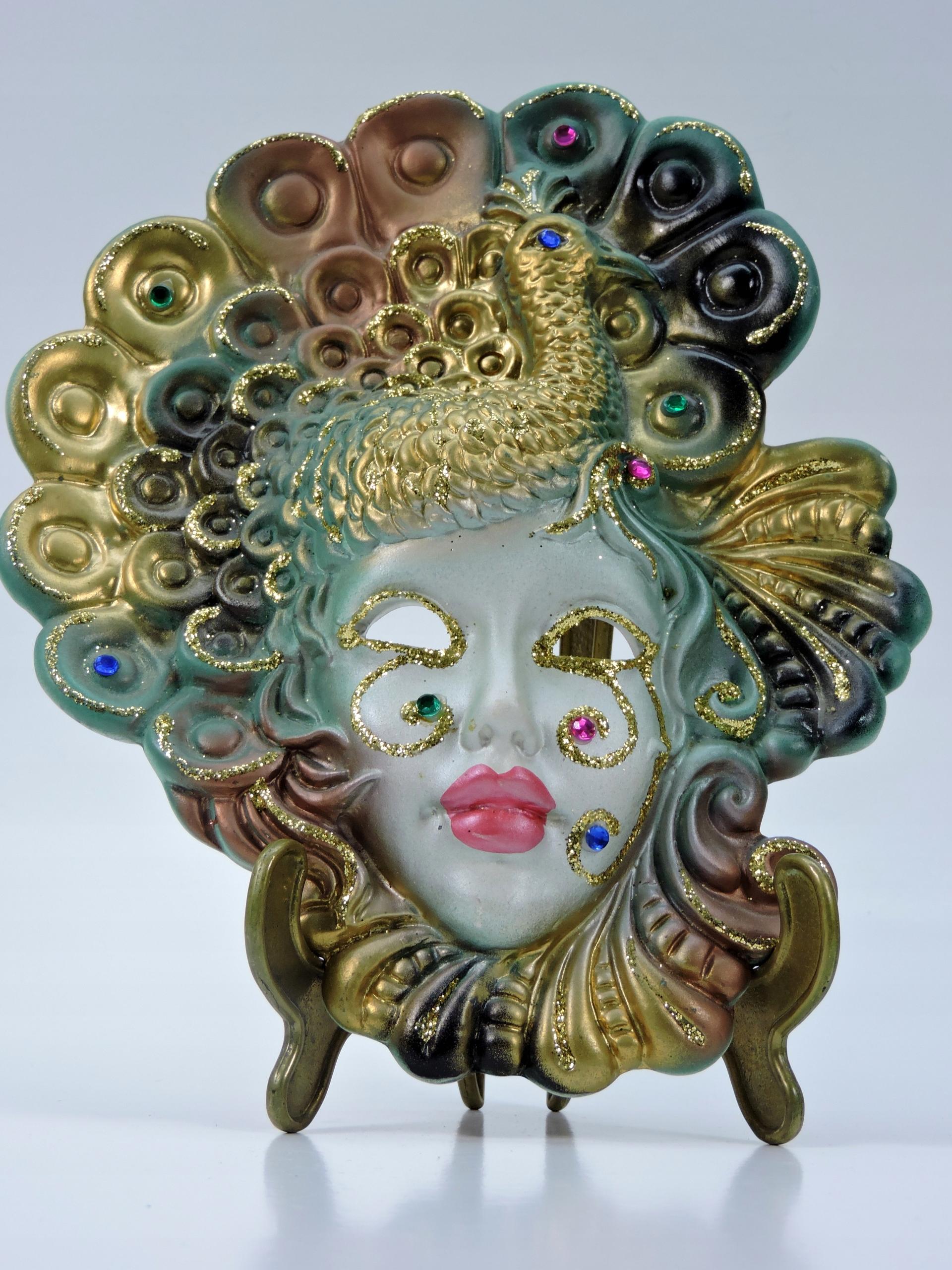 Maska wenecka karnawał kobieta paw ceramika