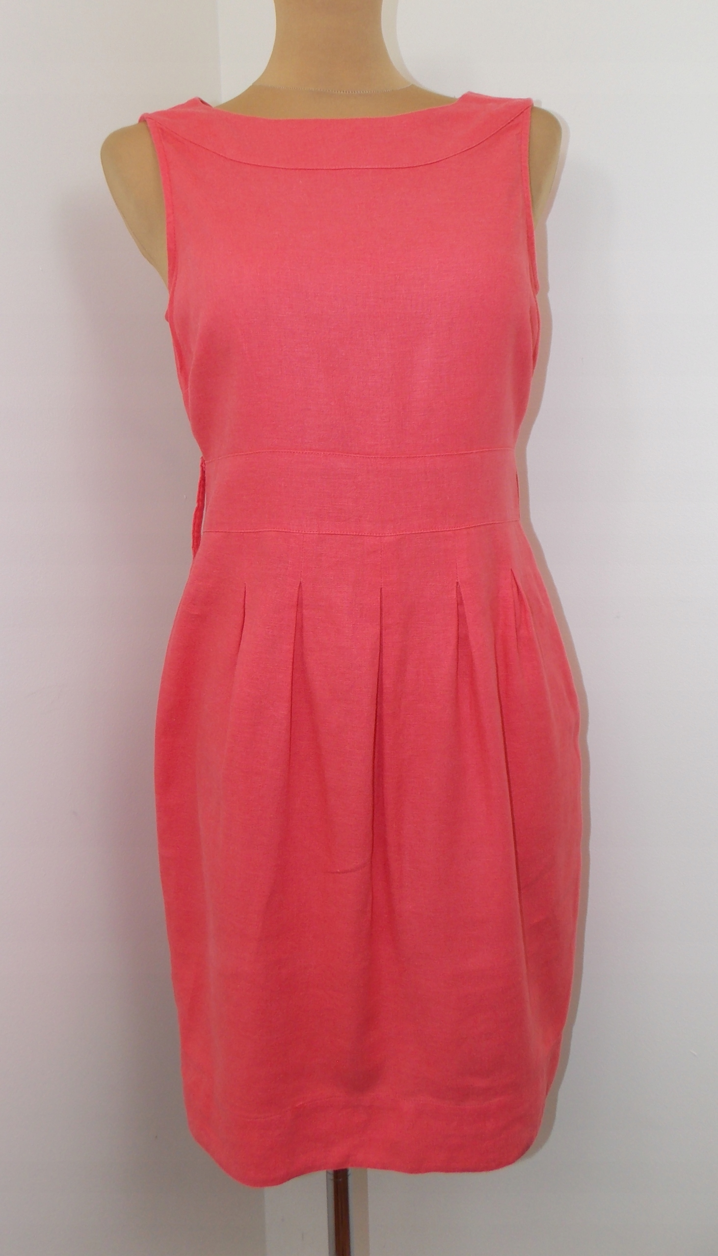 sukienka F+F elegancka klasyczna len lato biuro 36