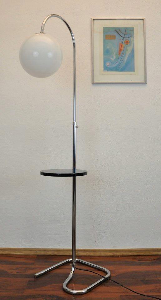 Lampa podłogowa stolik Chrom Art Deco Bauhaus