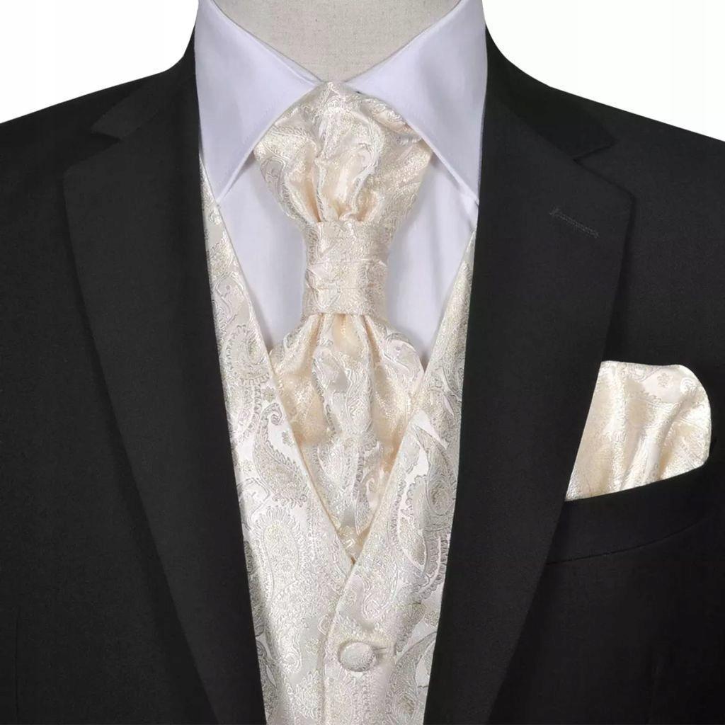 Męska kamizelka ślubna ze wzorem z krawatką i chus