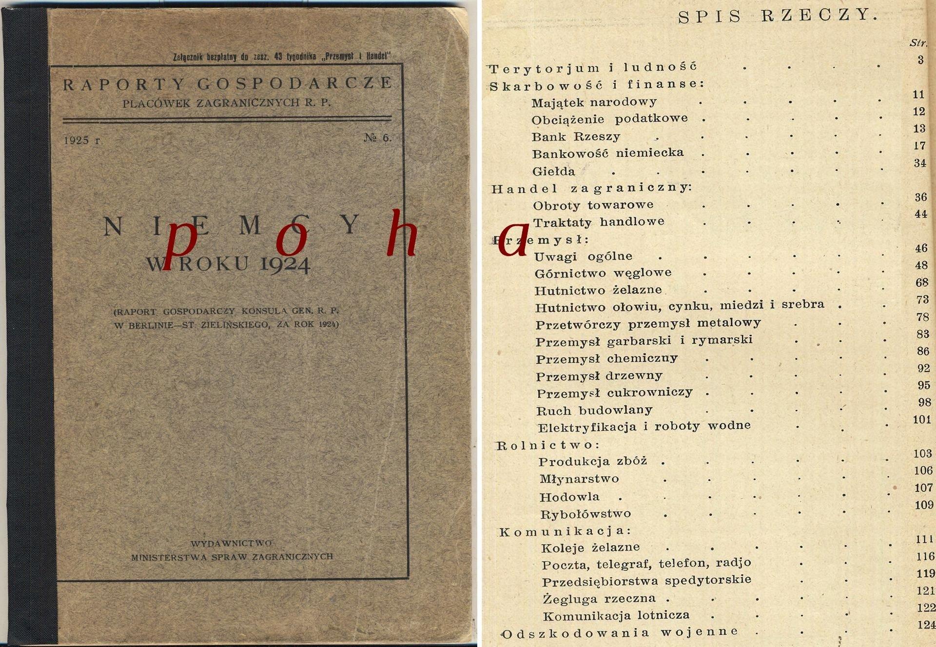 Raporty gospodarcze Placówek RP 1924 Zieliński